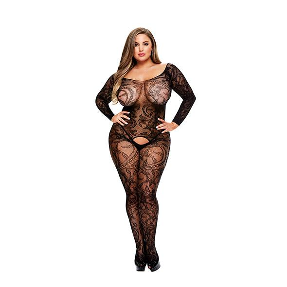 BACI - LONGSLEEVE CROTCHLESS BODYSTOCKING QUEEN SIZE, Catsuit daamidele