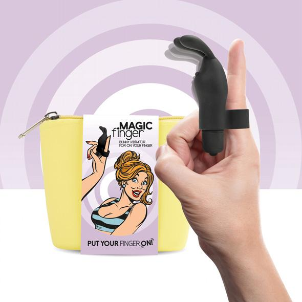 FEELZTOYS - MAGIC FINGER VIBRATOR BLACK, näpuvibraator, must jänku