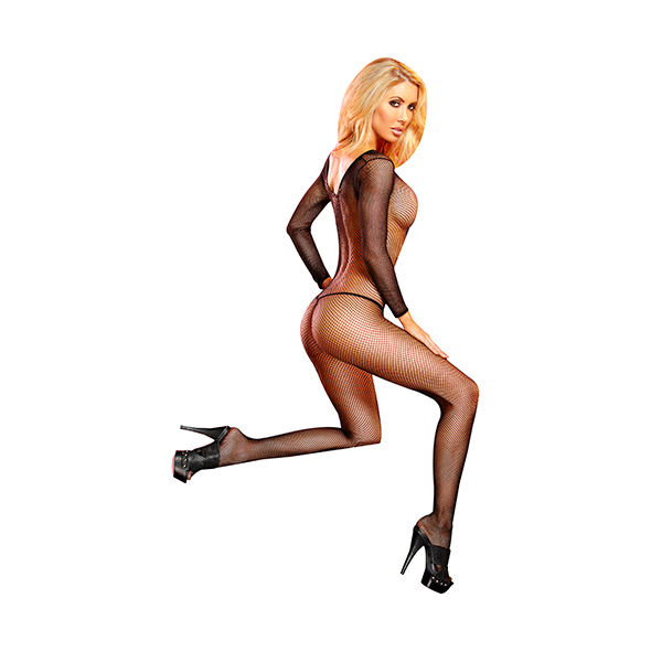 LAPDANCE - CROTCHLESS FISHNET BODYSTOCKING BLACK, catsuit, S/L