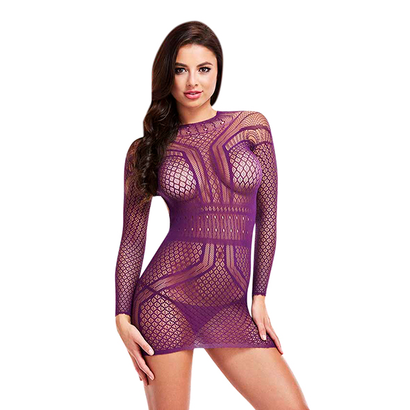 LAPDANCE - LONG SLEEVE OPEN BACK MINI DRESS PURPLE, avatud seljaga minikleit, S/L